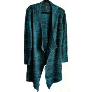 ONE A waterfall sweater cardigan teal size S/M GUC